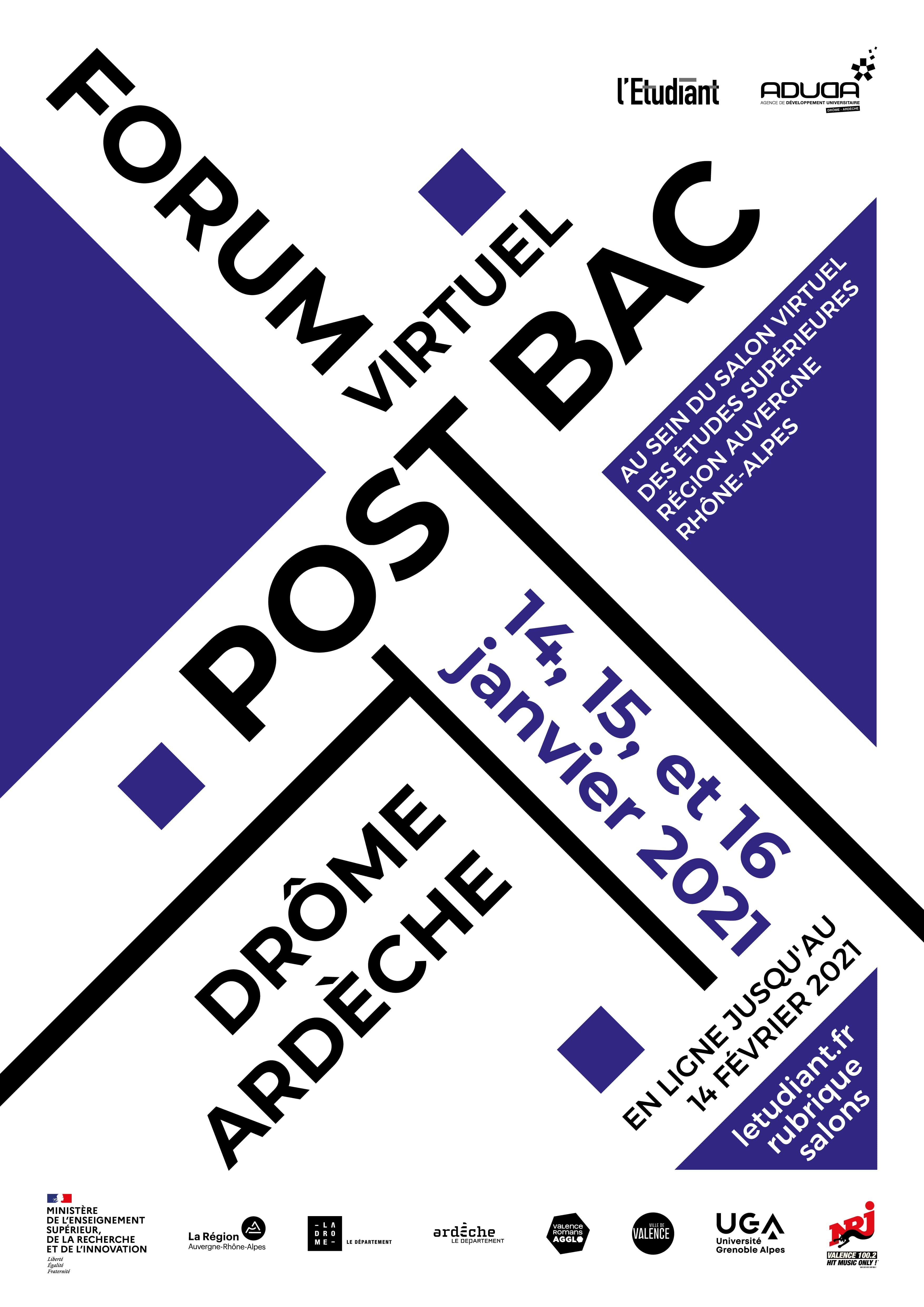 Affiche forum post-bac Drôme-Ardèche